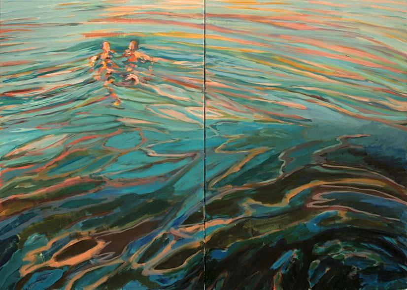 Badende V,  2016 Acryl auf Leinwand Diptychon 116x162