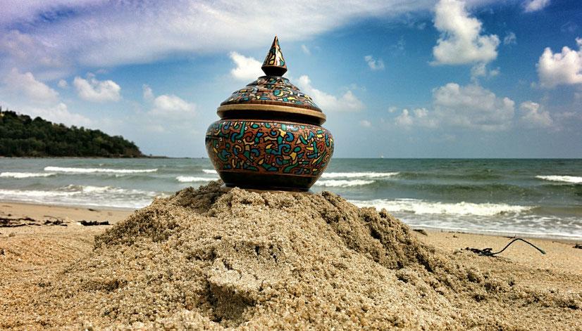 pot coco, peinture, art, thaïlande