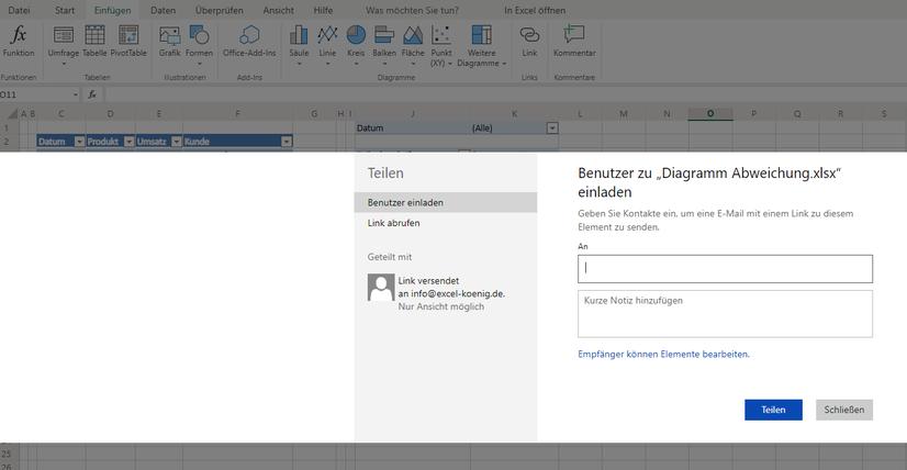 Excel teilen mit anderen Nutzern