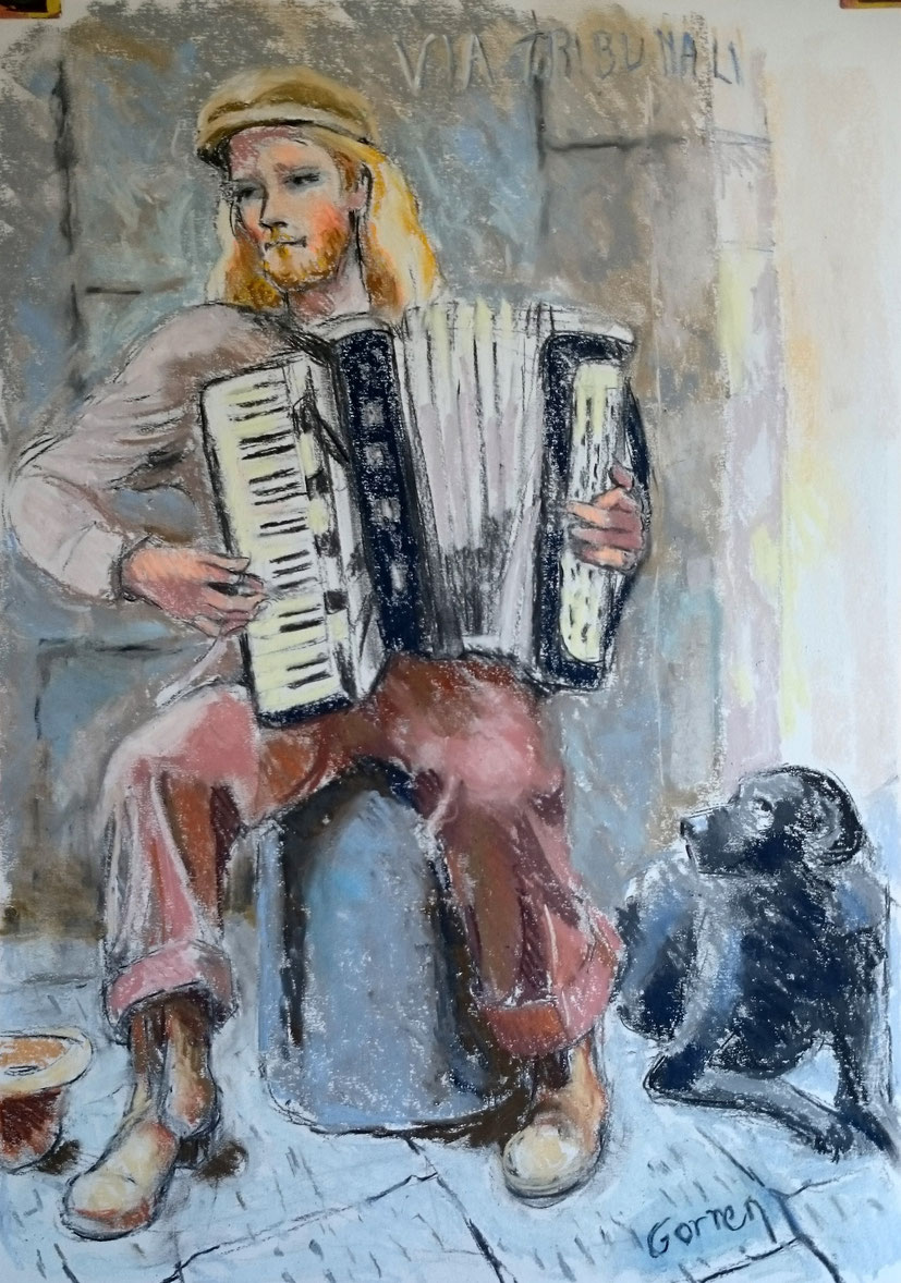 L'accordéoniste de Naples - Pastel
