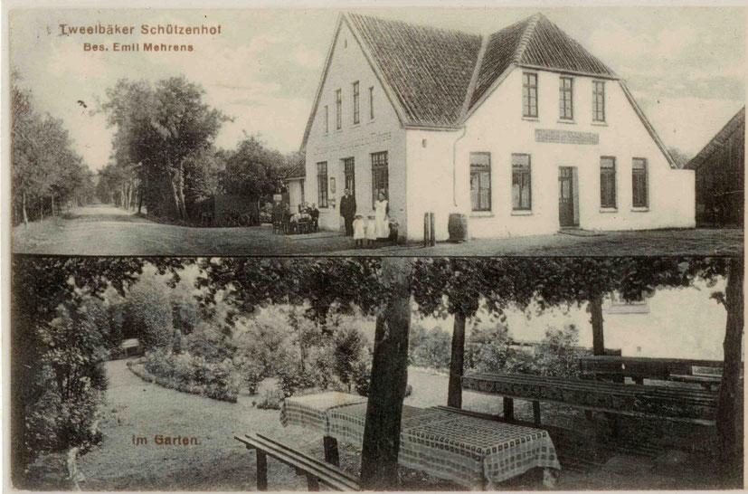 """oben:  Emil Mehrens mit  Ehefrau Johanne und den Kindern Meta, Henny und Emil vor dem """"Tweelbäker Schützenhof"""" nach einem Umbau"""