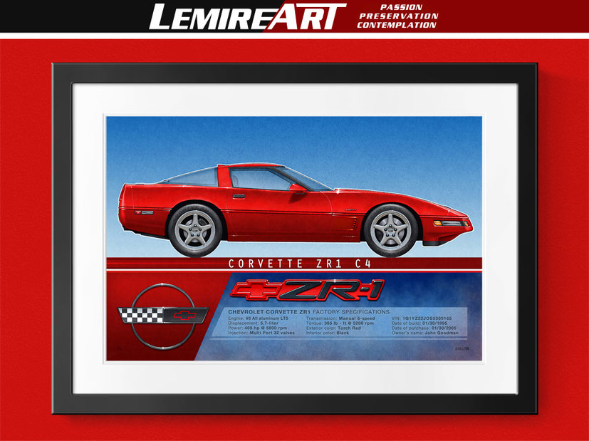 1995 Corvette ZR-1 drawing, 1995 Corvette ZR-1 profile view drawing