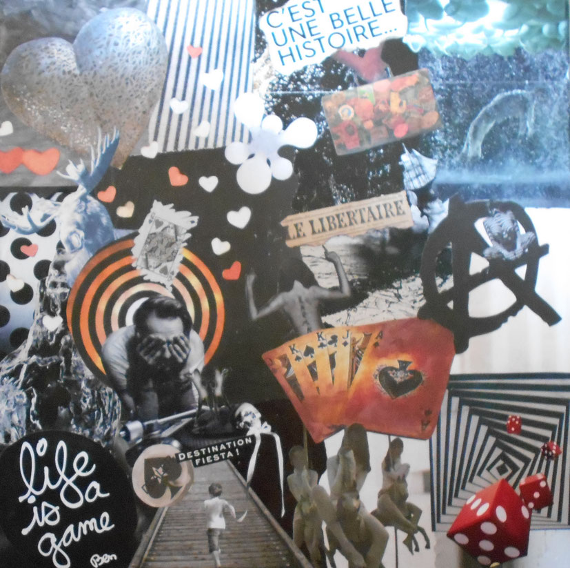 Collage tableau sur toile Life is game