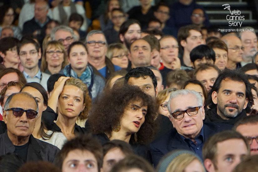 Martin Scorsese entouré de Pablo Trapero, Virginie Efira et Abbas Kiarostami - Clôture du Festival Lumière 2015 - Lyon  - Photo © Anik COUBLE