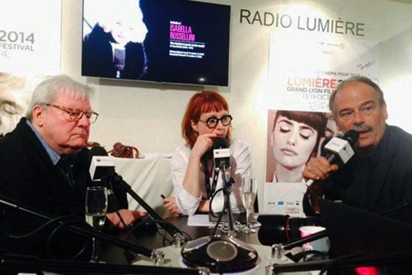 Alan Parker et Jean-Pierre Lavoignat, invités de Radio Lumière - Festival Lumière - Lyon - Octobre 2014 - Photo postée sur Twitter par Radio Lumière