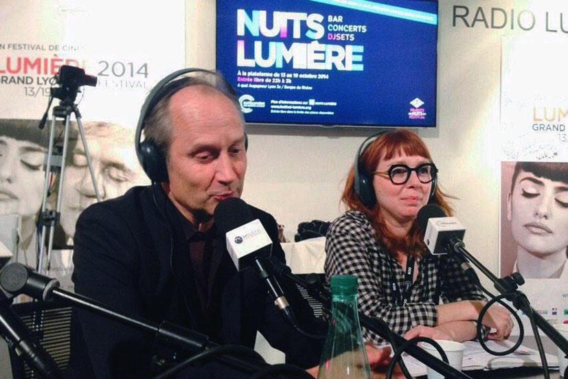 Hippolyte Girardot, invité de Radio Lumière - Festival Lumière - Lyon - Octobre 2014 - Photo postée sur Twitter par Radio Lumière