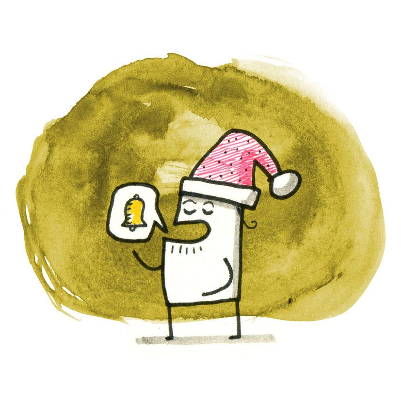 Illustration Nikolaus, Zeichnung mit Tusche auf Papier von Frank Schulz Art, zeigt kleinen Mann mit Nikolaus Mütze der Jingle Bells singt