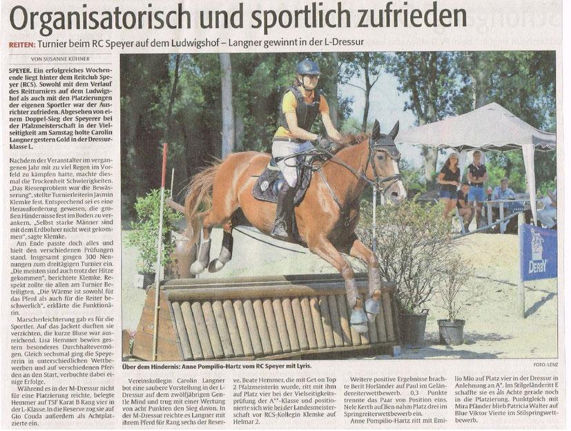 Vergrößerung per Klick - Artikel aus Die Rheinpfalz 6.8.2018