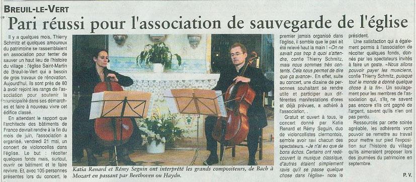 26 mai 2010, pari réussi pour l'association de sauvegarde de l'église Saint Martin de Breuil le Vert.