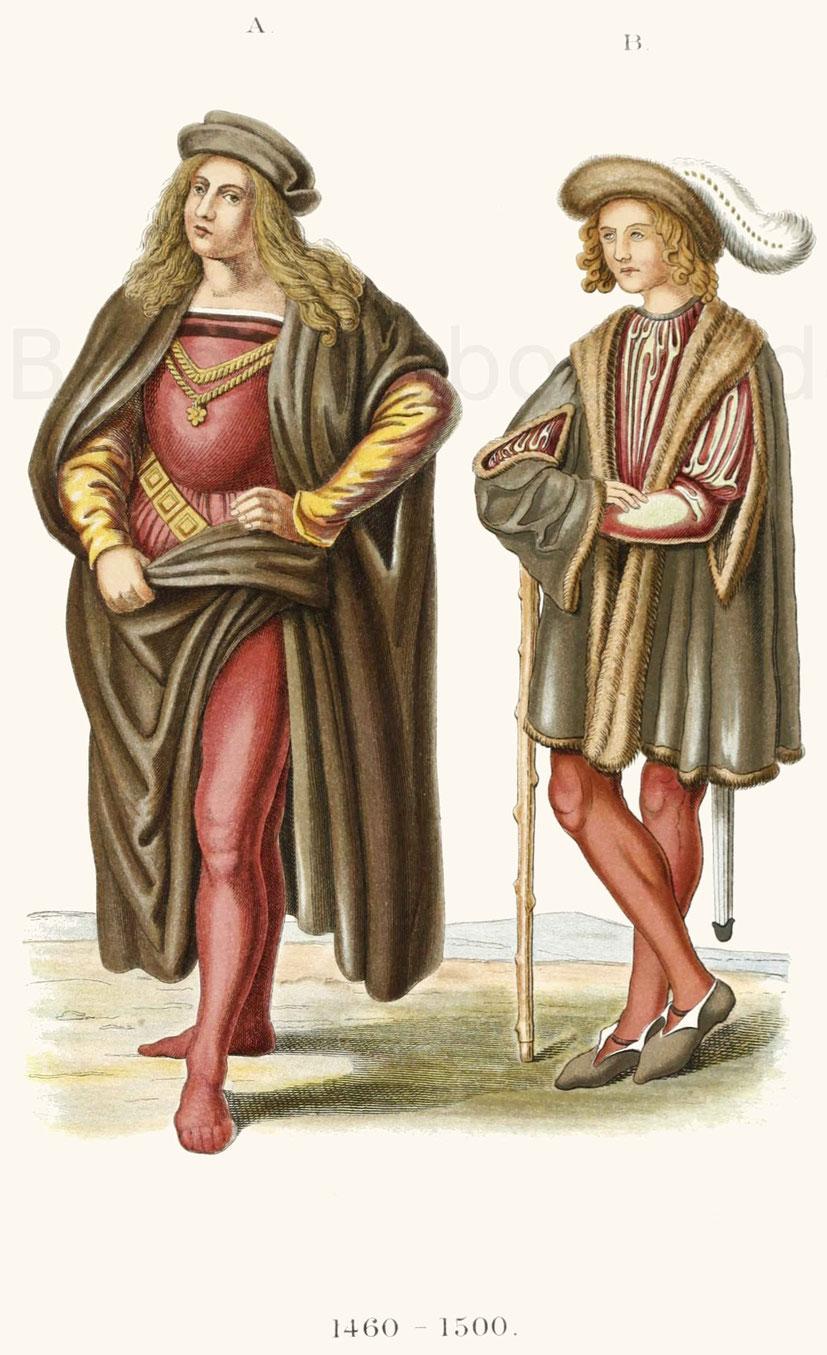 Männertrachten aus der zweiten Hälfte des 15. Jahrhunderts.
