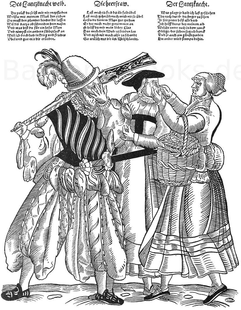Eine eifersüchtige Frau schneidet der Landsknechtsfrau die Nase ab.