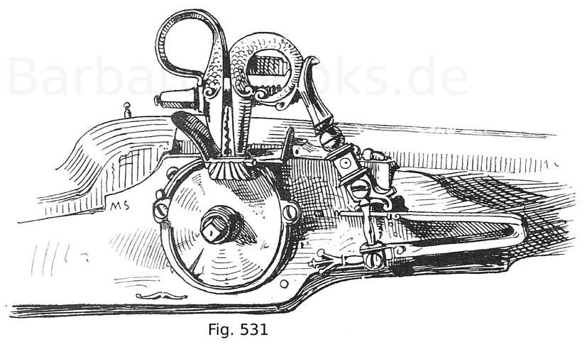 Fig. 531. Deutsches Radschloss mit ungedecktem Rad und auf die geöffnete Pfanne niedergedrücktem Hahn. Ende 16. Jahrhundert.