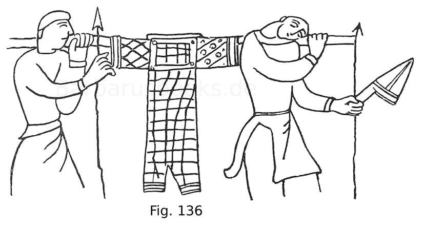 Fig 136. Kriegsknechte, einen Harnisch tragend, aus der Tapete von Bayeux. Ende des 11. Jahrhunderts.