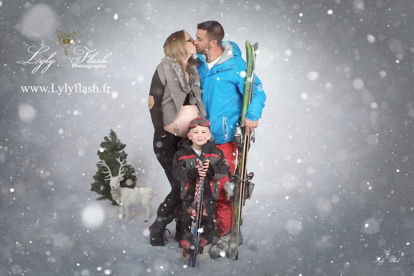 photographe grossesse neige hiver ski