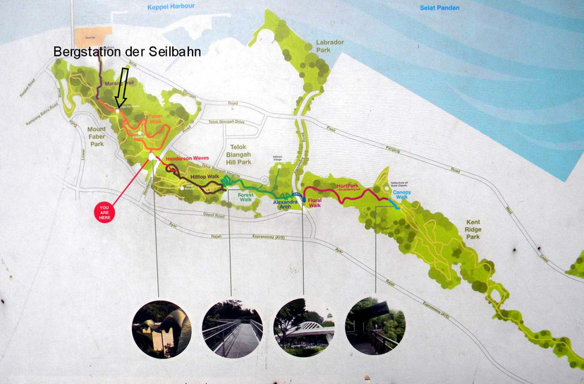 Wanderwege auf dem Mount Faber