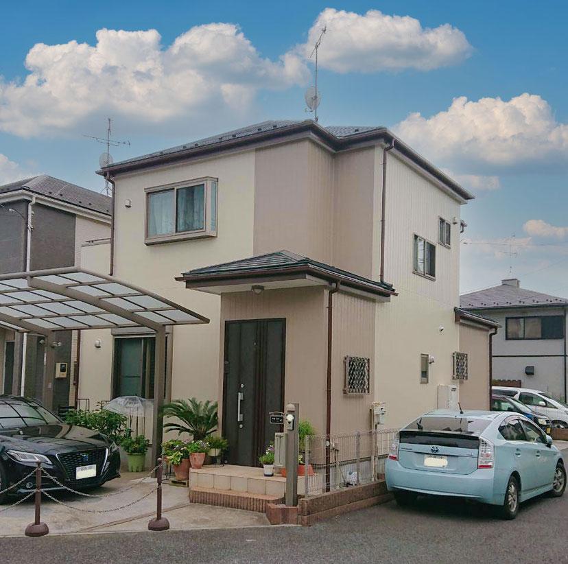 鎌ケ谷市東道野辺の屋根外壁塗装後の画像