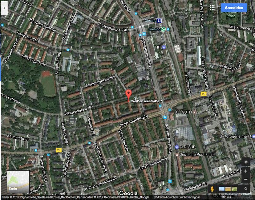 Weißenseestraße 7 - 15, Satelitenaufnahme. © Google-Maps 2017