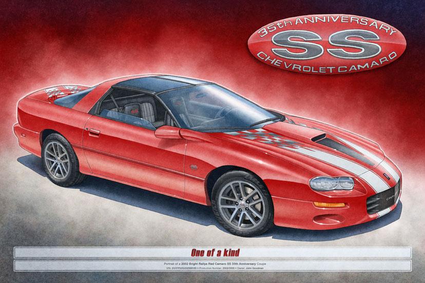 2002 Camaro SS 2002 35th Anniversary drawn portrait by Alain Lemire