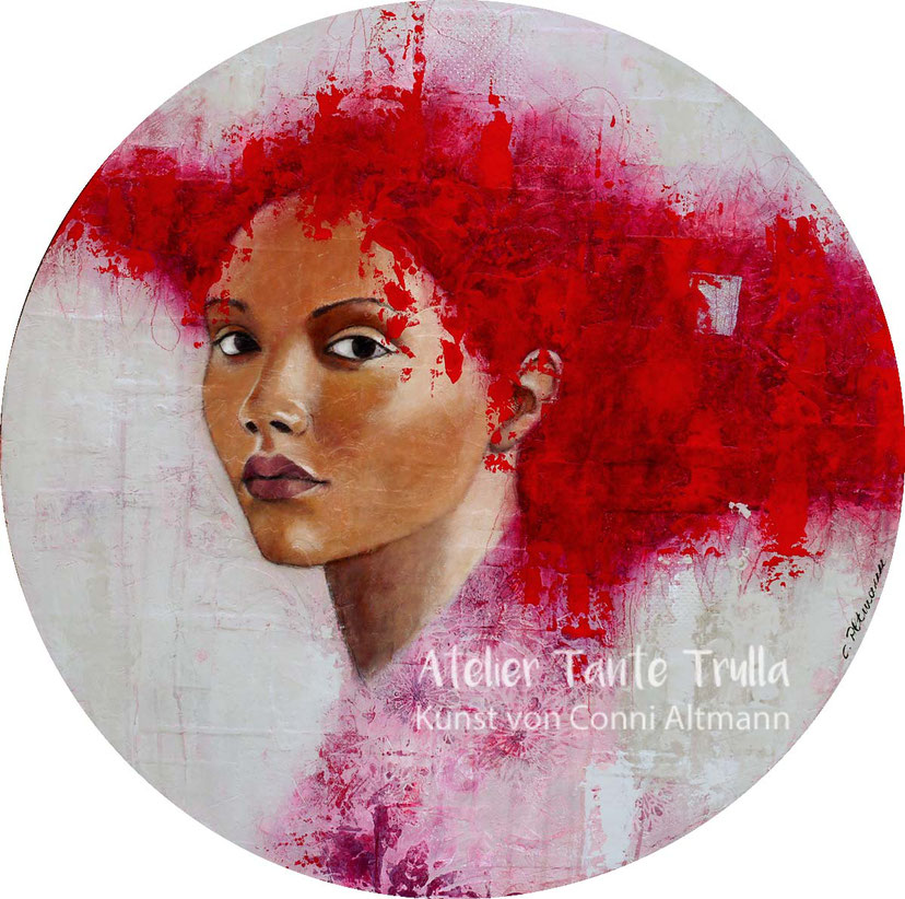 """Zora"", round Mixed Media Painting on plywood, approx. 80 cm x 3 cm, by Conni Altmann, www.ateliertantetrulla.de"