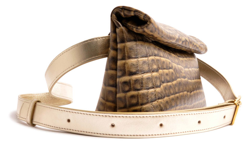OSTWALD Bags . HIP . Body bag  . Leather bag  . colour taupe and gold .  Crossover bag . Shop online . Webshop