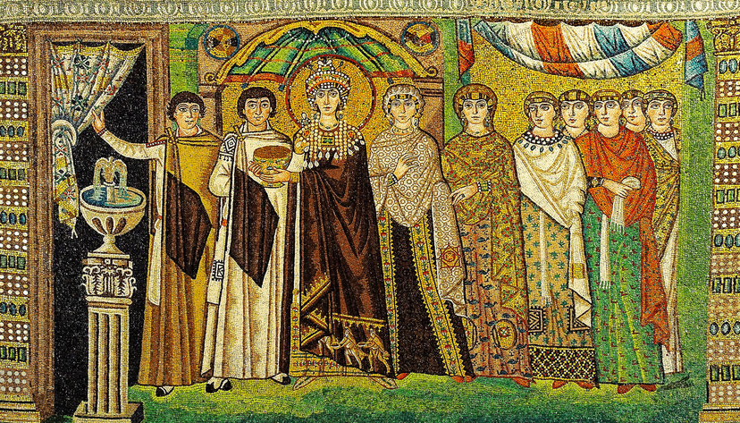 L'imperatrice Teodora indossa una tunica porpora - Basilica di San Vitale, Ravenna