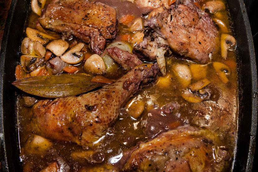 Coq au Vin-geschmortes Huhn in Rotweinsoße-Rezept