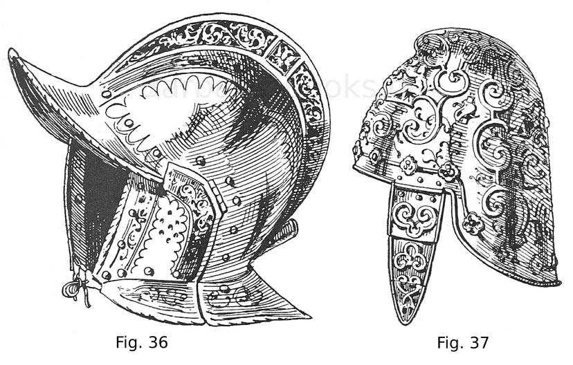 Fig. 36. Geschlossene Sturmhaube von einem Trabharnisch des Ritters Hans Fernberger von Auer (gest. 1584). Um 1550. Fig. 37. Venetianische Sturmhaube, in Eisen getrieben, gebräunt und vergoldet. Die Backenstücke sind von alter, doch späterer Arbeit. 1560