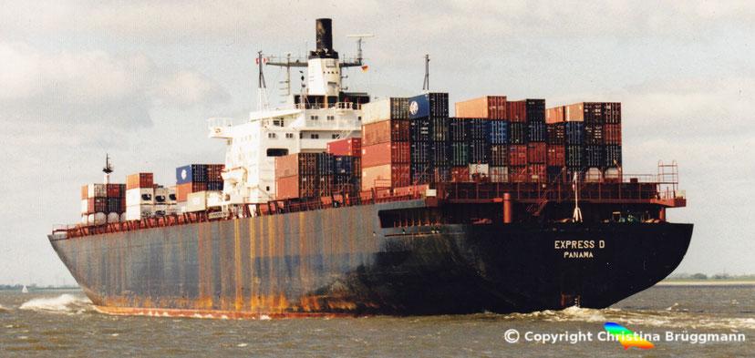 """Containerschiff der 3. Generation ex """"HAMBURG EXPRESS"""" als """"EXPRESS D"""" 2001"""