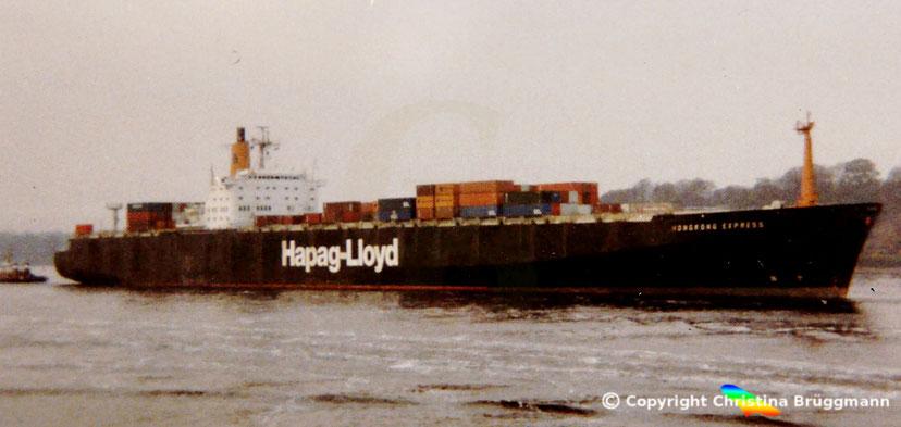 "Hapag-Lloyd Containerschiff ""HONGKONG EXPRESS"" 1990 einlaufend Hamburg"