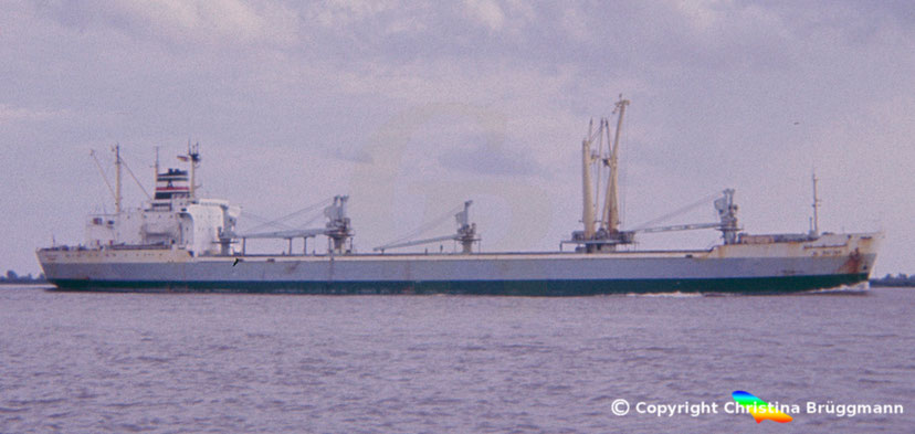 "Stückgutfrachter ""AL RAYYAN"" auf der Elbe 1983"