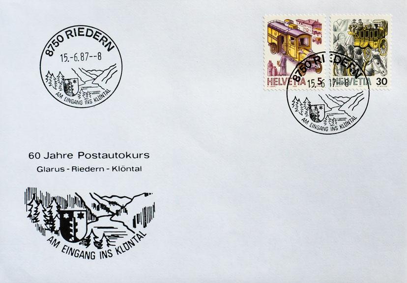 """Ersttagskuvert der Poststelle Riedern vom 15. Juni 1987 zum Jubiläum """"60 Jahre Postautokurs Glarus-Riedern-Klöntal""""."""