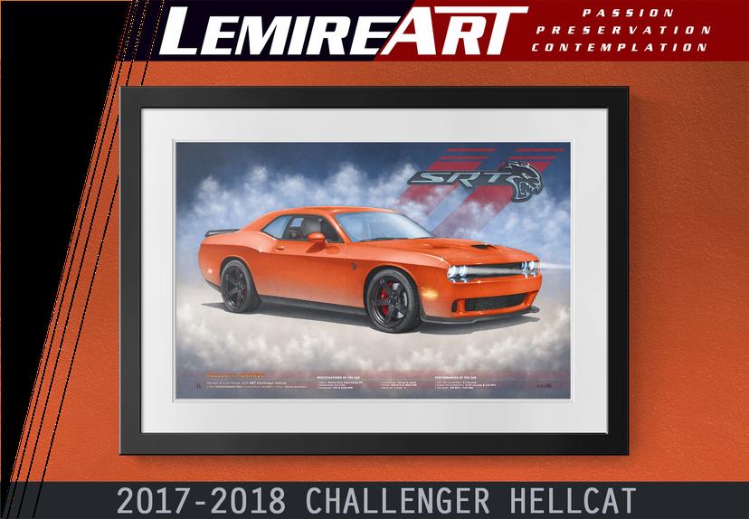 2017, 2018 Dodge Challenger Hellcat by automotive artist Alain Lemire Lemireart