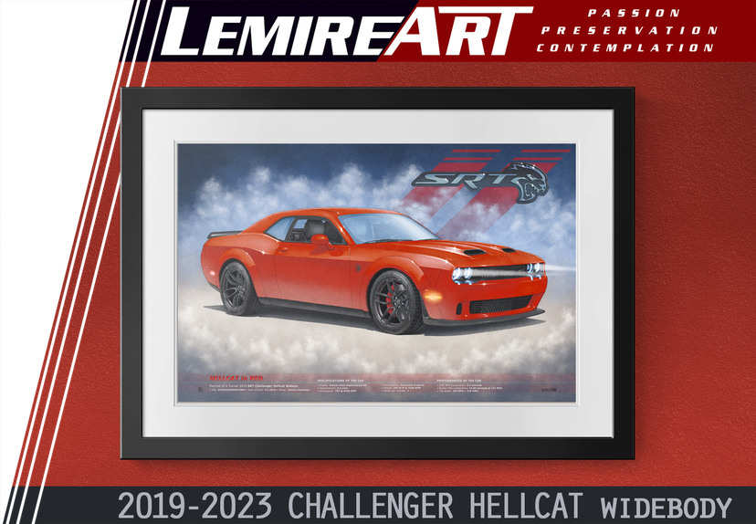 2019 Dodge Challenger Hellcat Wide Body by automotive artist Alain Lemire Lemireart