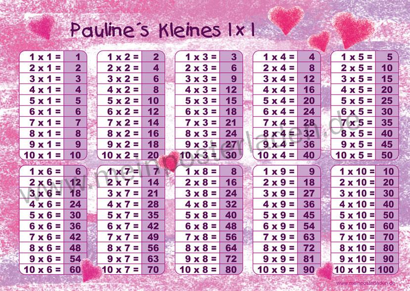 1 x 1 Lernposter für die Grundschule mit romantischen Pastell Herzchen in pink und rosa, optional laminiert