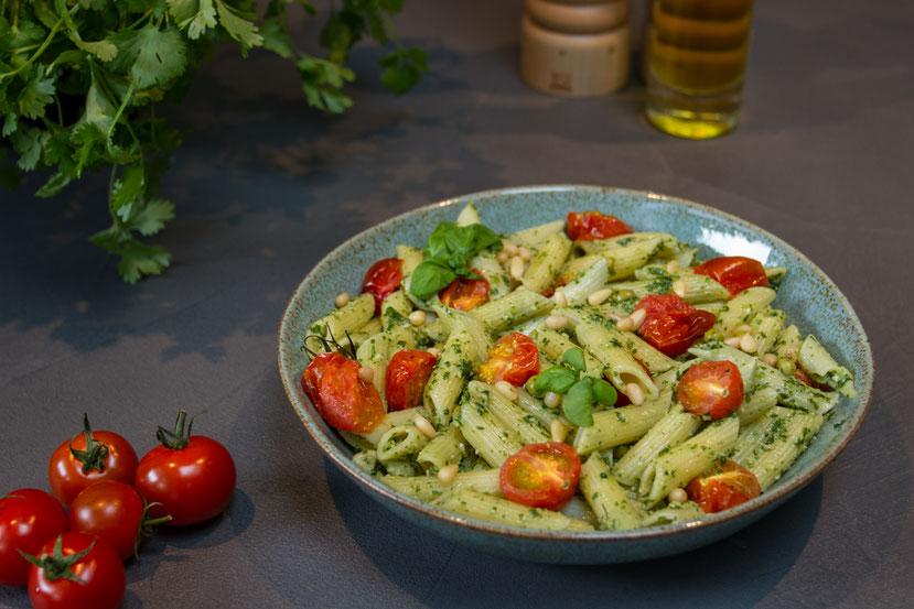 Vegan recipe pasta with home made pesto