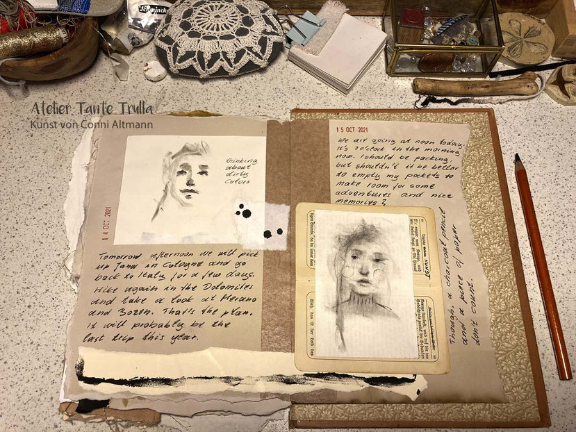 two pages of a kind of diary by Conni Altmann
