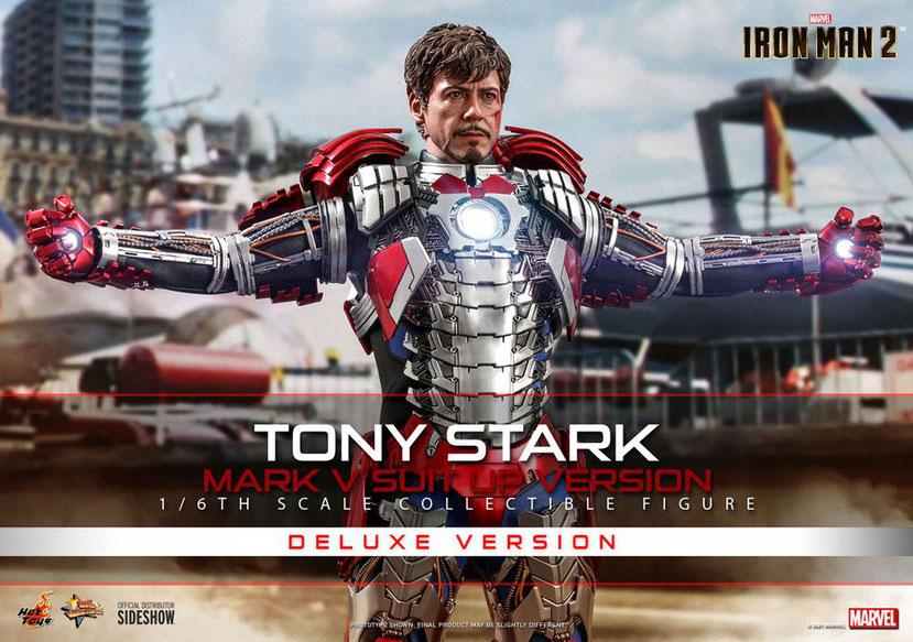 Tony Stark (Mark V Suit Up Version) Deluxe 1/6 Iron Man 2 Marvel Movie Masterpiece Actionfigur 31cm Hot Toys hot908411