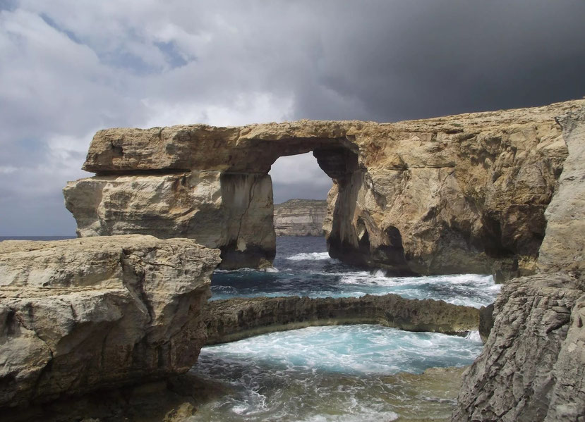 The Azure Window and Blue Hole in the foreground. Gozo, Malta