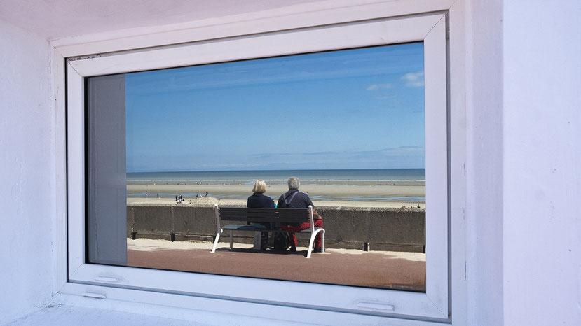 Mathieu Guillochon, photographe, couleurs, rivages, Manche, marée basse, France, Somme, reflet, Fort mahon, ciel bleu estran, bleu