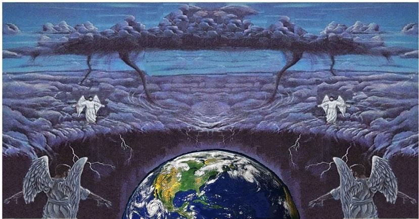 4 anges aux 4 coins de la terre retiennent les 4 vents! Le nombre 4 évoque les 4 directions de l'espace, les 4 points cardinaux. Toute la Terre sera concernée. Ces 4 vents exercent une pression contenue et s'exprimeront avec force dès qu'ils seront lâchés