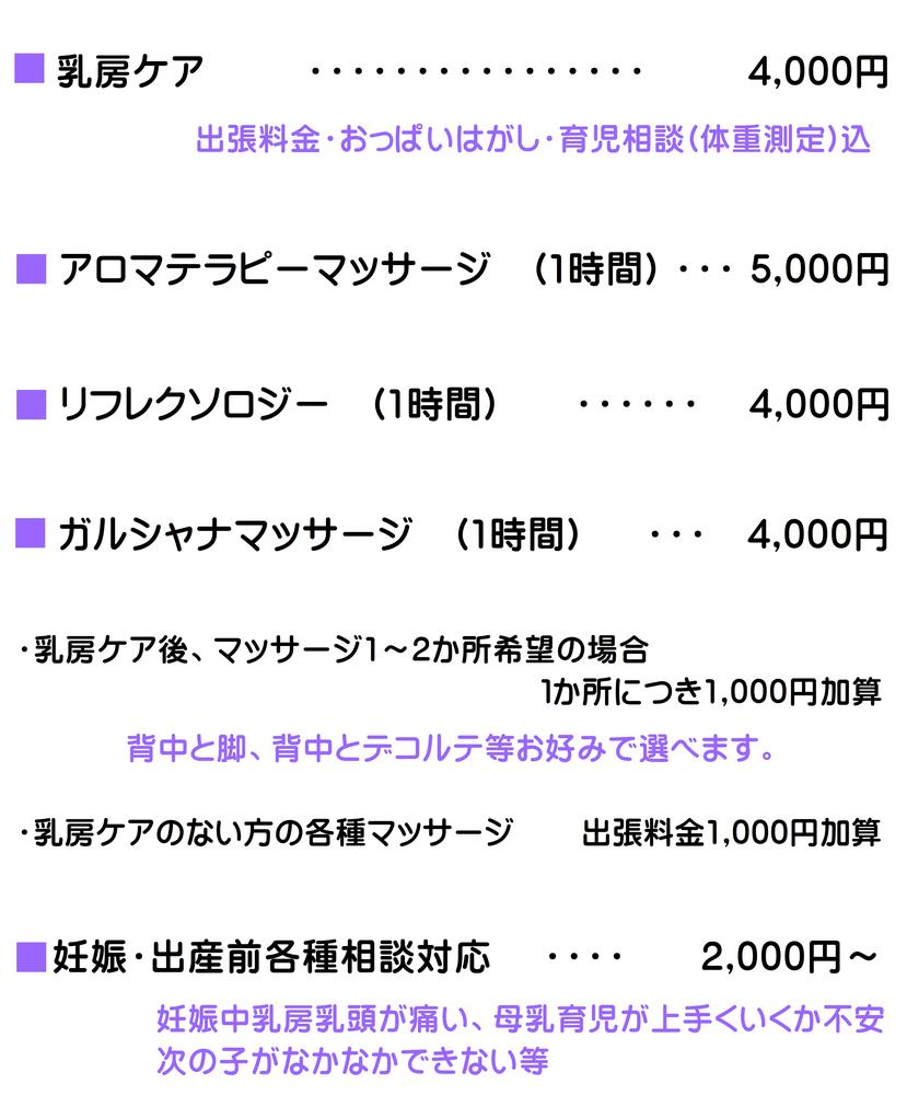 トリートメントルームグリーン料金表