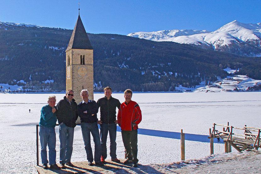Am Weg nach Südtirol zum Bläserseminar - Reschensee März 2013