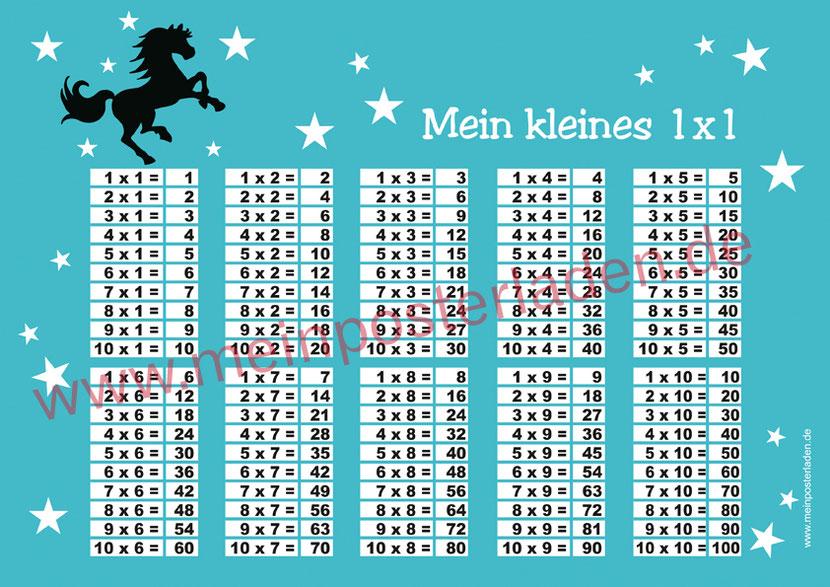 1 x 1 Lernposter für die Grundschule mit Wildpferd und Sternchen, optional laminiert
