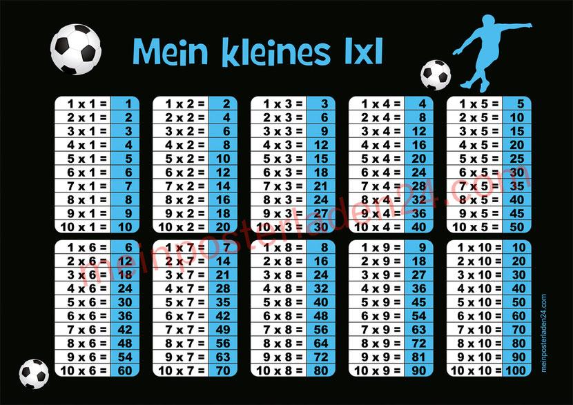 1 x 1 Lernposter für die Grundschule mit Fußballspieler und Fußbällen, optional laminiert