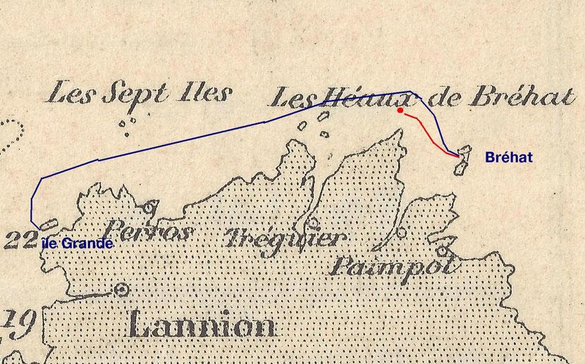 Le circuit des pierres des carrières littorales de l'île Grande à Bréhat puis le trajet des pierres taillées de la Corderie au rocher des Héaux