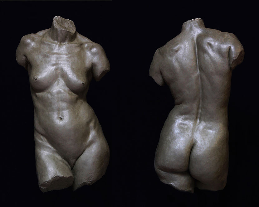 Yin, finished clay original. 90 x 45 cm