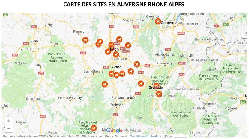 EN ROUGE, LES SITES D'ACCUEIL ET D'ACCOMPAGNEMENT EN RHÔNE ALPES, EN 2019