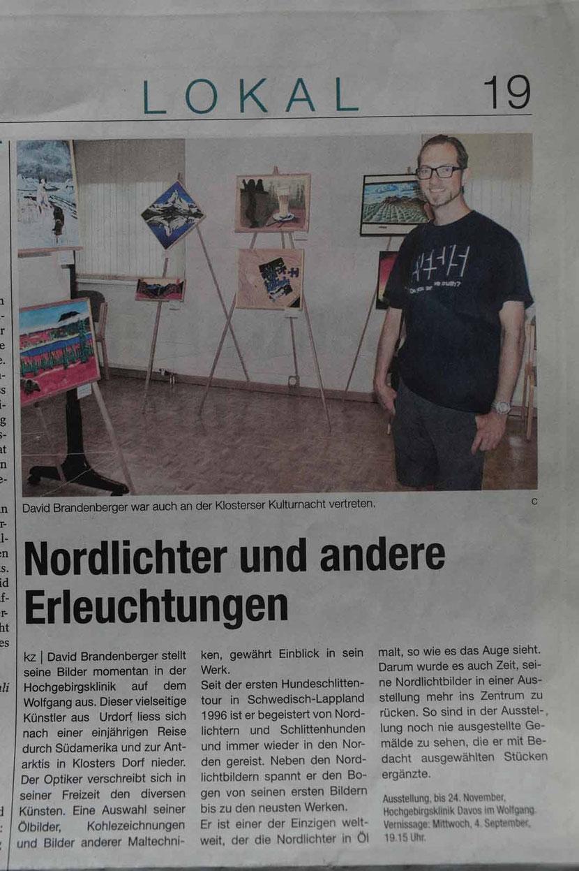 Bild:Presse,Zeitungsartikel,Ausstellung,Nordlichter,Hochgebirgsklinik Davos Wolfgang,d-t-b,David Brandenberger,d-t-b.ch,