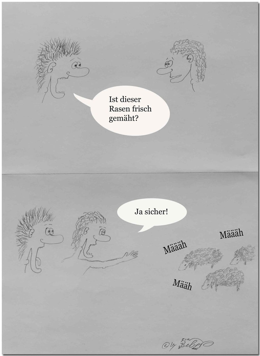 Bild:Rasen,Mähen,Witz,lustig,funny,Spass,Cartoon,David Brandenberger,d-t-b.ch,d-t-b,