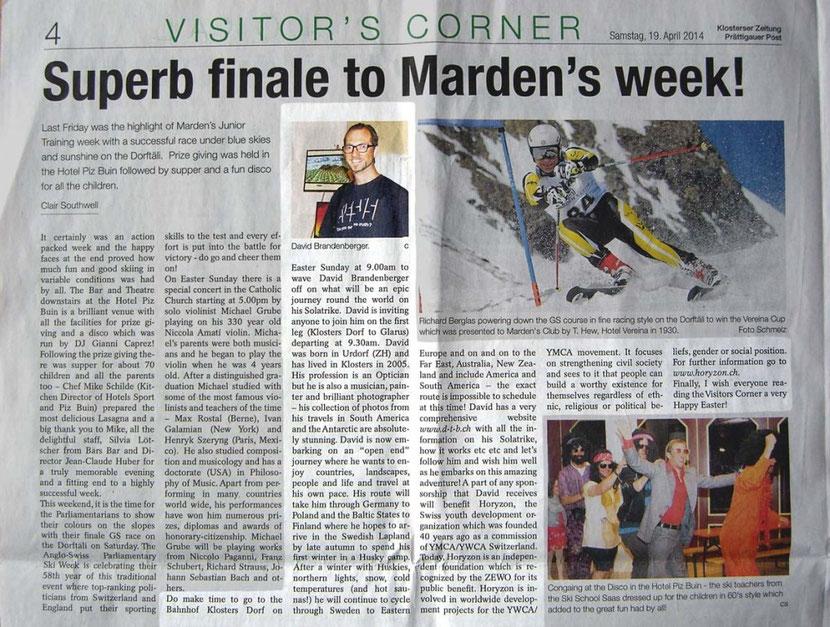 Bild:Zeitung,Zeitungsartikel,Klosterser Zeitung,englisch,David Brandenberger,d-t-b.ch,d-t-b,